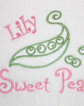 Girl Burp Cloth Sweet Pea Design