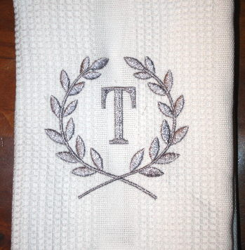 Personalized Dishtowel - Laurel Wreath Monogram