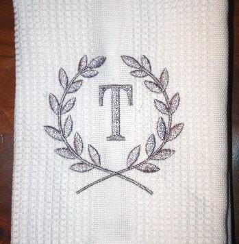 Personalized Dishtowel - Laurel Wreath Monogram