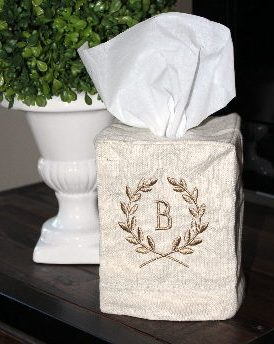 Tissue Cover - natural w taupe