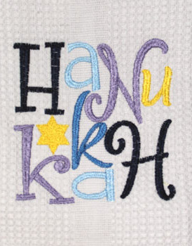 Dishtowel Whimsical Hanukkah