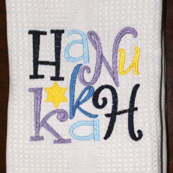 Dishtowel Whimsical Hanukkah