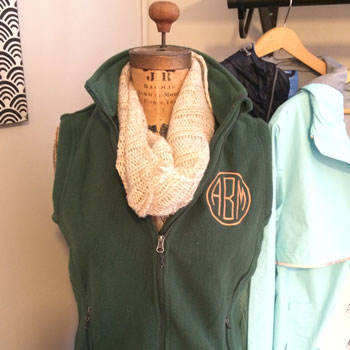 Monogrammed Fleece Vest - Example